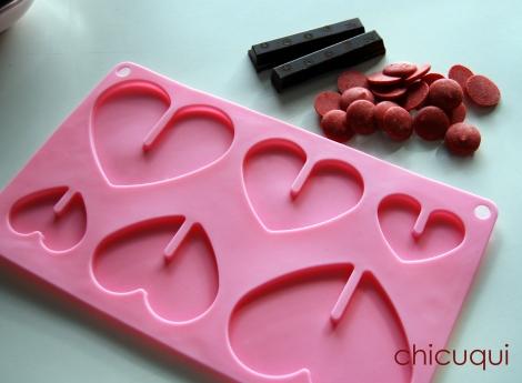 Galletas decoradas San Valentín corazones chocolate candy melts1