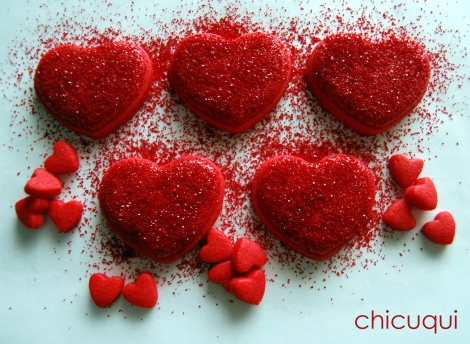 Galletas decoradas san valentin corazones rojos purpurina 3