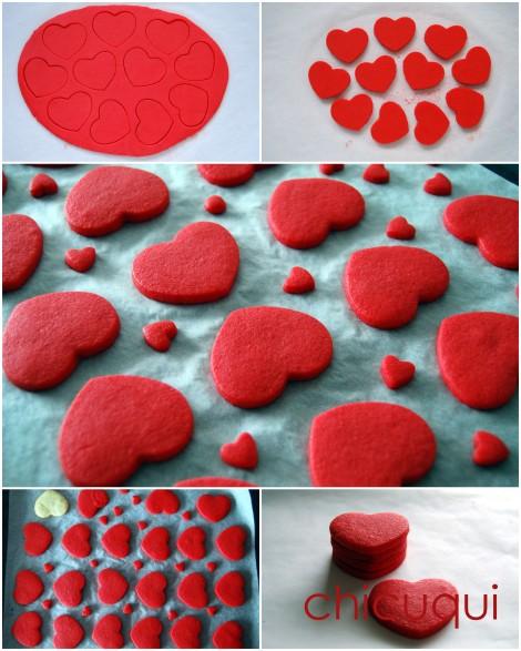 Galletas decoradas san valentin corazones rojos purpurina how to paso2