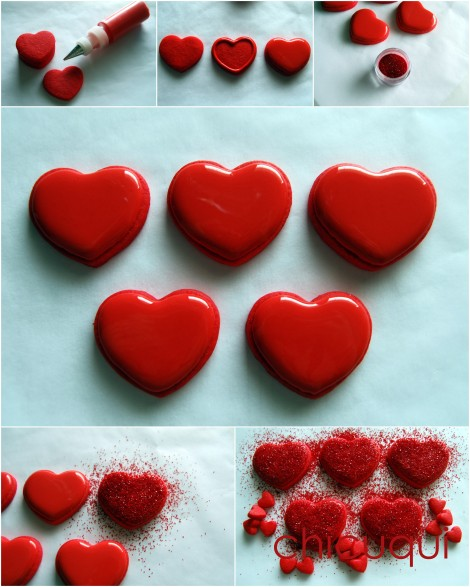 Galletas decoradas san valentin corazones rojos purpurina how to paso3