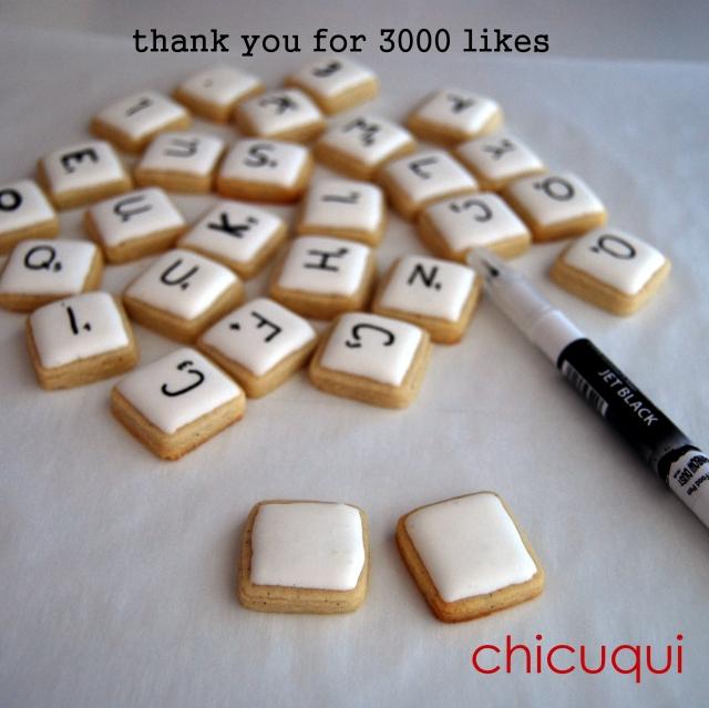 Galletas decoradas en forma de Scrabble o Intelect de chicuqui.com