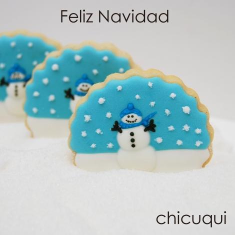 Navidad galletas decoradas muñeco de nieve tutorial chicuqui.com