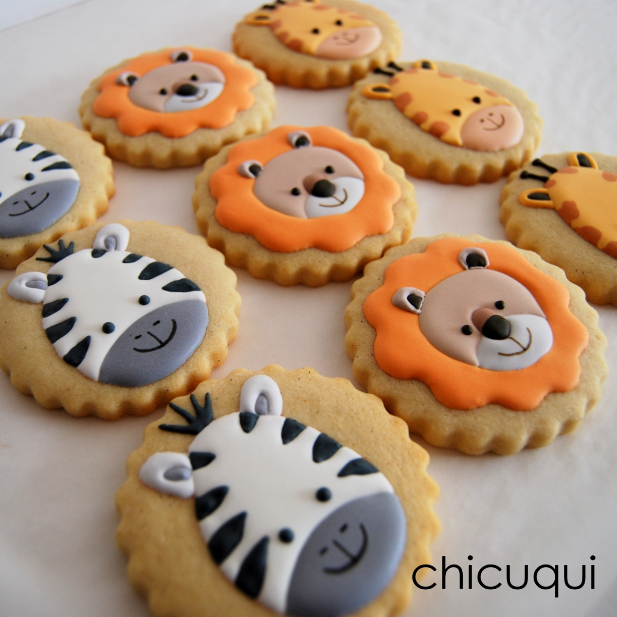 Animales de la selva, en galletas decoradas