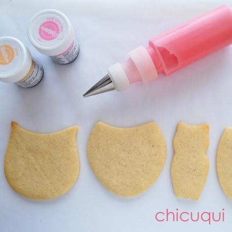 Búhos bebé rosa galletas decoradas chicuqui.com