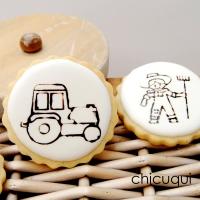 Visita a la granja, en galletas decoradas con sellos de silicona