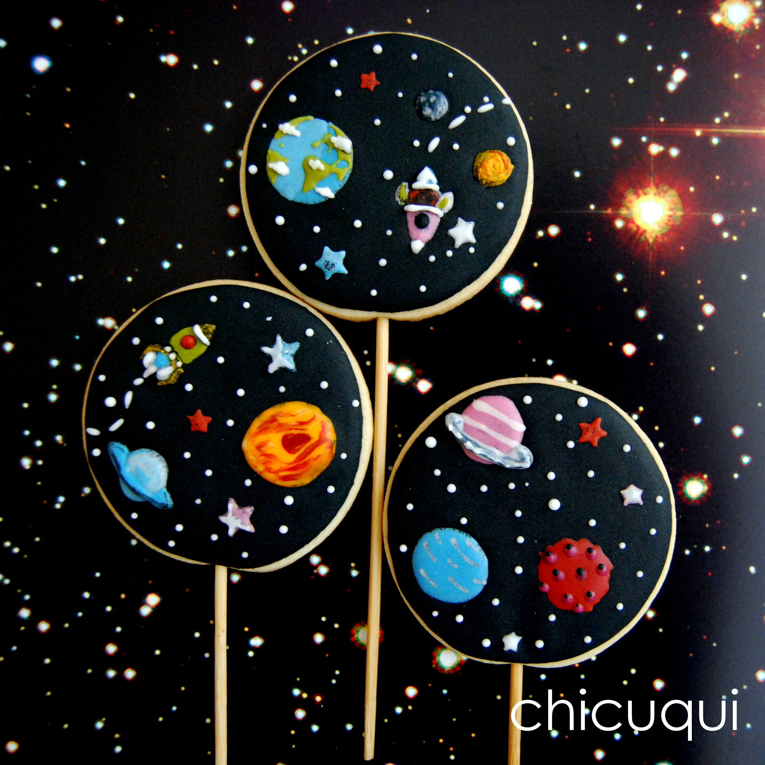El espacio en galletas decoradas chicuqui - Dibujos infantiles del espacio ...