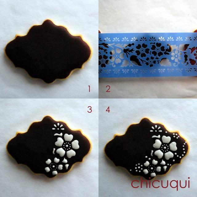 marsala color del año 2015 en galletas decoradas con stencils chicuqui.com