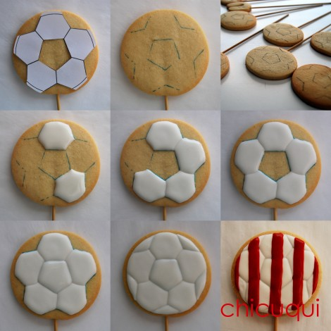 balón de futbol atletico de madrid en galletas decoradas chicuqui.com