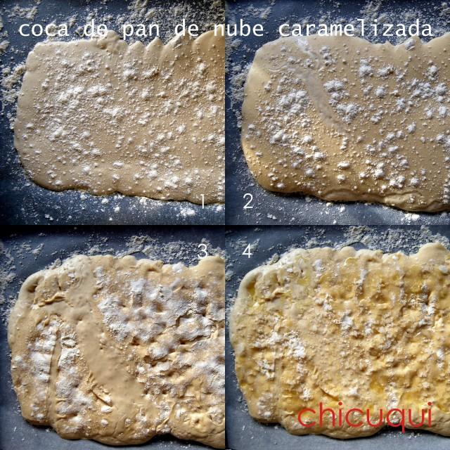 Receta de coca de pan de nube caramelizada chicuqui.com