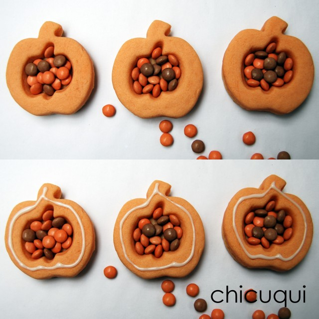 Galletas decoradas para Halloween calabazas pumpkin decorated cookies chicuqui.com
